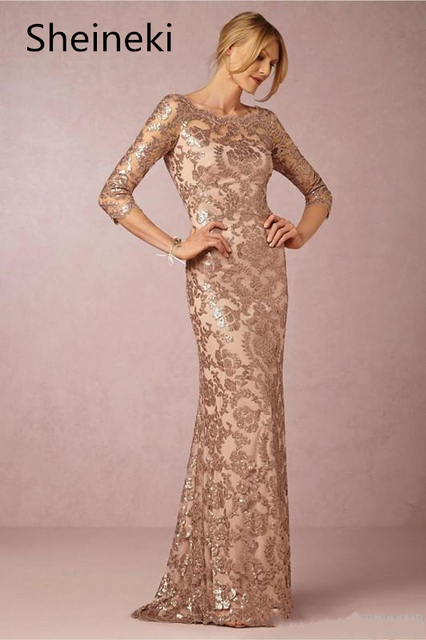 US $86.26 37% OFF|Plus Size Long Sleeves Rose Gold Mother of the Bride  Dresses Plus Size Vintage Lace Long Formal Evening Party Wear Custom-in  Mother ...