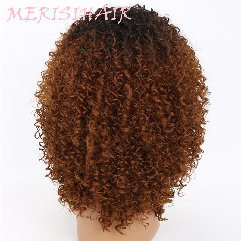 MERISI HAIR Long Kinky Curly Afro Wig Blonde Mixed Brown Color Synthetic Wigs for Black Women Heat Resistant Fiber 250g  (2)