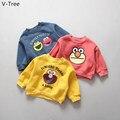 2016 Otoño Invierno Muchacha Del Muchacho Hoodie Niños Gruesas Wam Velet Suéter Bebé de la Capa Niños Paño Impresión de la Historieta Infantil de Lana Camiseta
