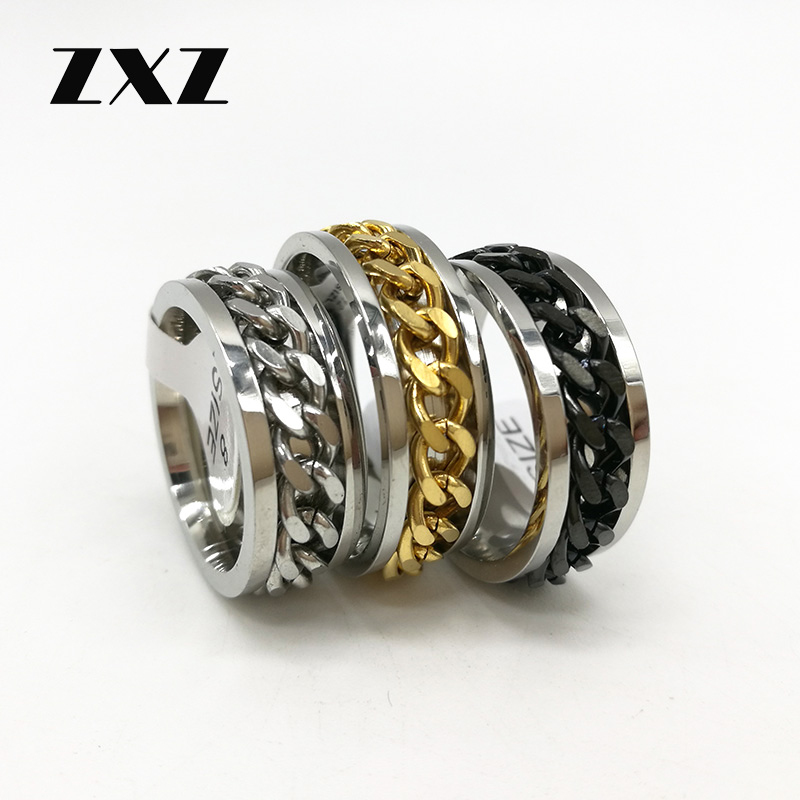 Finger Fidget Ring Spinner EDC Toy for ADHD Autism Stainless Steel Chain