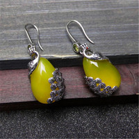BESTLYBUY Natural Yellow Agates Drop Earrings Vintage 925 Silver Peacock Female Women Jewelry FREE SHIPPING