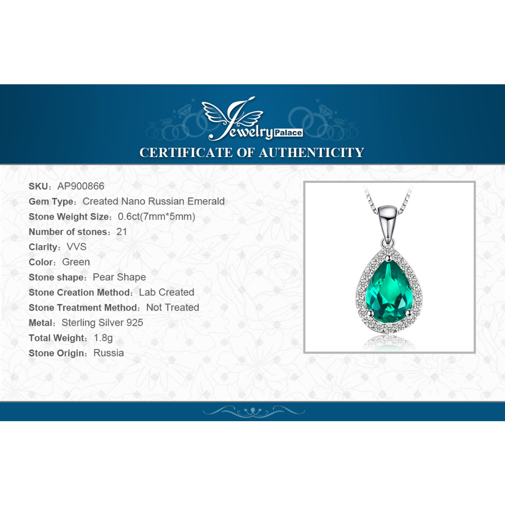 JewelryPalace 0.7ct Water Drop Creado Colgantes de esmeralda Genuino - Joyas - foto 6