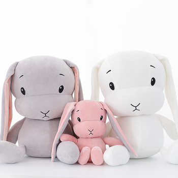 New cute rabbit plush toy with long ears filling in soft feather cotton doll gifts for birthday or kids