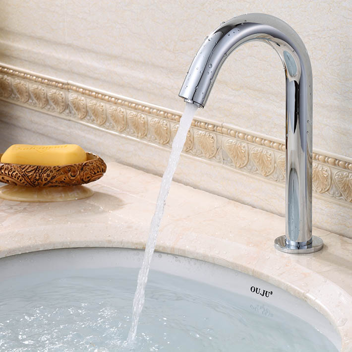 ФОТО Touchless hand free automatic sensor faucet induction tap with 304 stainless steel body 8822B