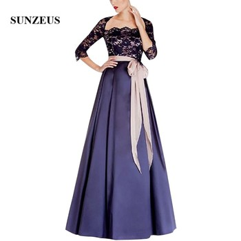 Three Quarter Sleeves Black Lace Mother Of The Bride Dress With Sash Long Navy Blue Satin Women Formal Gowns Elegant Party Dress