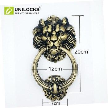 UNILOCKS 20cm duży antyczny lew kołatka Lionhead Doorknockers lwy Home Decor