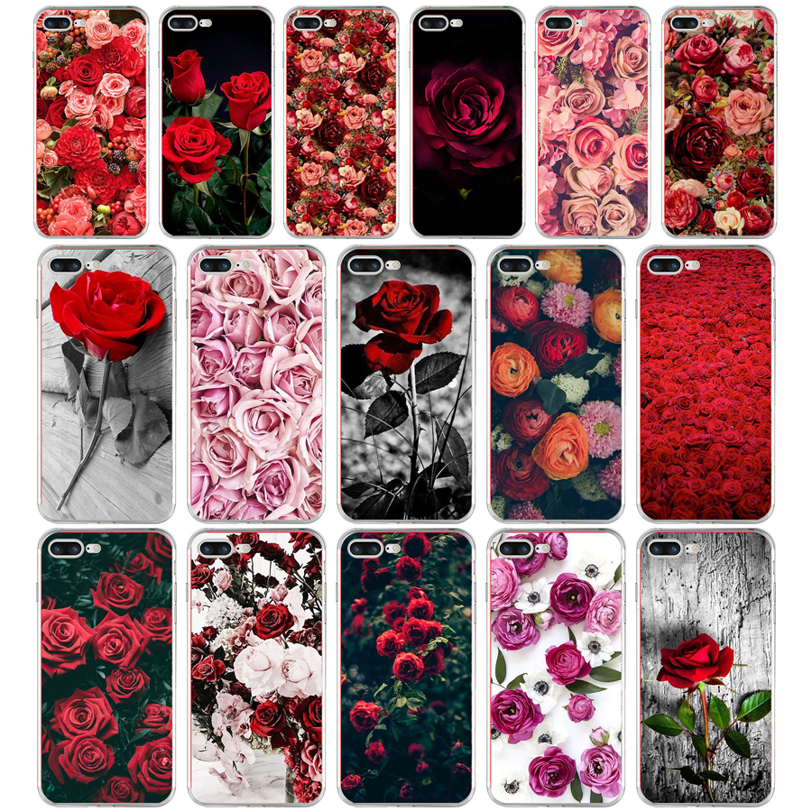 12G Beautiful Garden <font><b>Red</b></font> Roses Flowers For <font><b>iPhone</b></font> 6 7 8 <font><b>plus</b></font> <font><b>Case</b></font> Soft TPU Silicone Cover For Apple <font><b>iPhone</b></font> <font><b>6s</b></font> 7 8 <font><b>plus</b></font> <font><b>Case</b></font> image