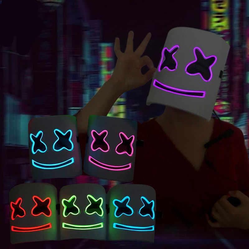 Горячие светодиодный DJ шлем мarshmello музыкальный фестиваль EVA Зефир Глава Маска Карнавал ночной клуб бар Косплэй бутафорская маска для Для женщин Для мужчин