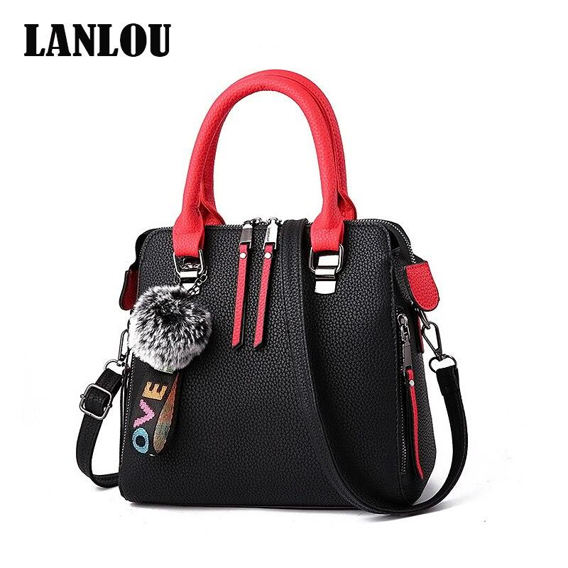 Women Bags Messenger-Bag Fur-Ball Crossbody LANLOU Female Solid-Color Flap