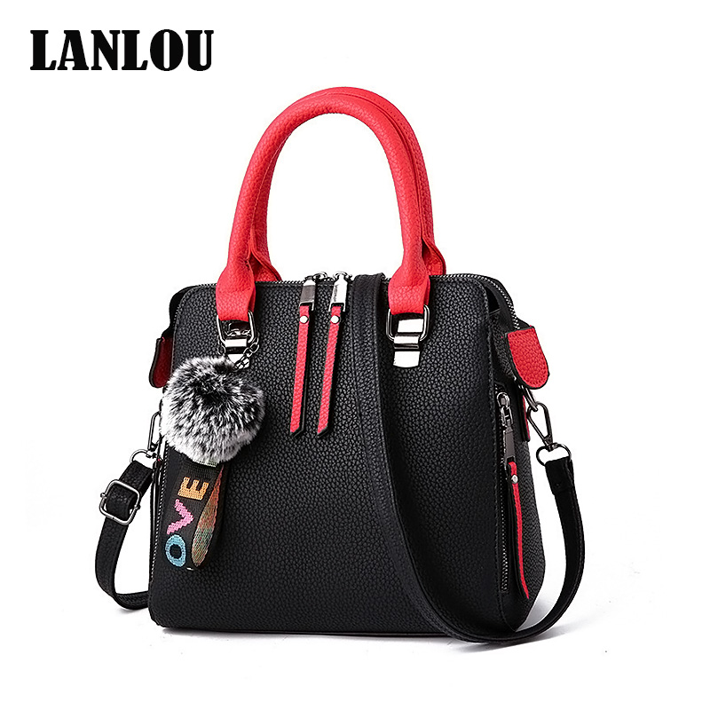 LANLOU PU Leather Women Bags Messenger Bag Fur Ball Crossbody Flap Bags Female Shoulder Bag Solid Color Handbags
