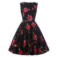 Retro Dress Vintage Casual 1950 S Women Red Blue Purple Elegant Plus Size Dress Short Flower