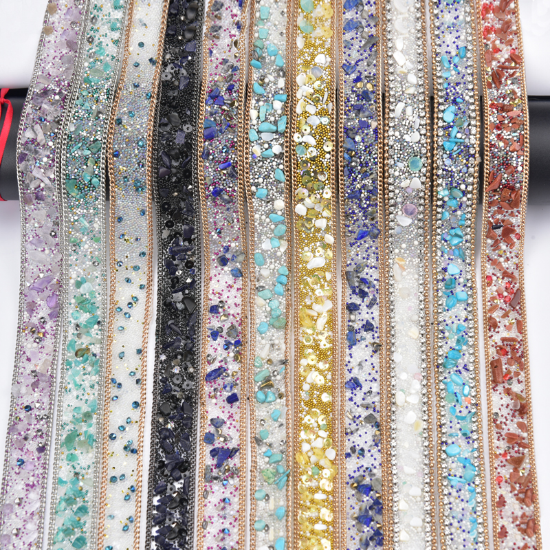 Free Ship,crystal Beaded Rhinestone Trim Strass Banding Bridal Beaded Applique Chain In Yards 2cm Width Iron On Wedding Dress
