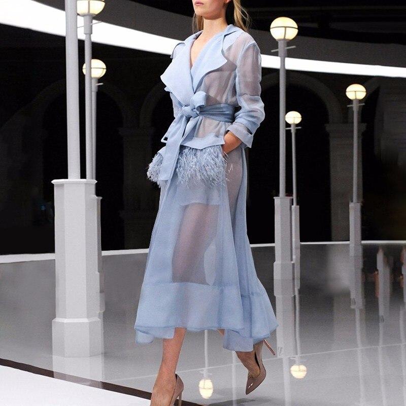 Été bleu ciel femmes coréenne piste autruche cheveux plumes crème solaire élégant Organza fête deux pièces ensembles robe femmes costumes 2019