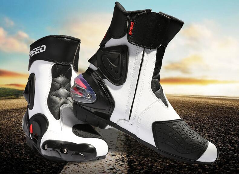 PRO-BIKER SPEED BIKERS Men Motorcycle Racing Shoes Leather Motorcycle Boots Riding Motorbike Motocross Off-Road Moto Boots