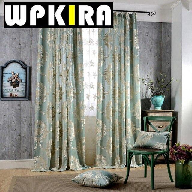 Europe Jacquard Semi Blackout Velvet Curtains Living Room Blinds Panel  Fabrics For Window Navy Blue
