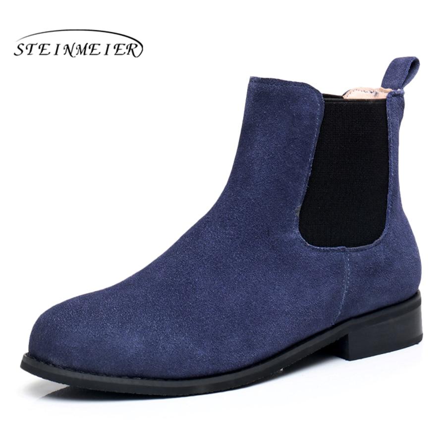 Натуральная кожа ботильоны удобные мягкие ботинки Бренд дизайнер ручной работы синий коричневый нам Размер 9,5 с мехом 2018 весна