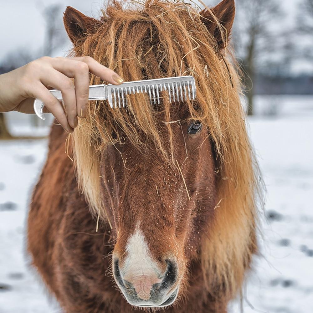 Алюминиевый сплав гребень для лошади инструмент оборудование для ухода за лошадью продукты грива хвост потянув гребень уход за лошадью инс...