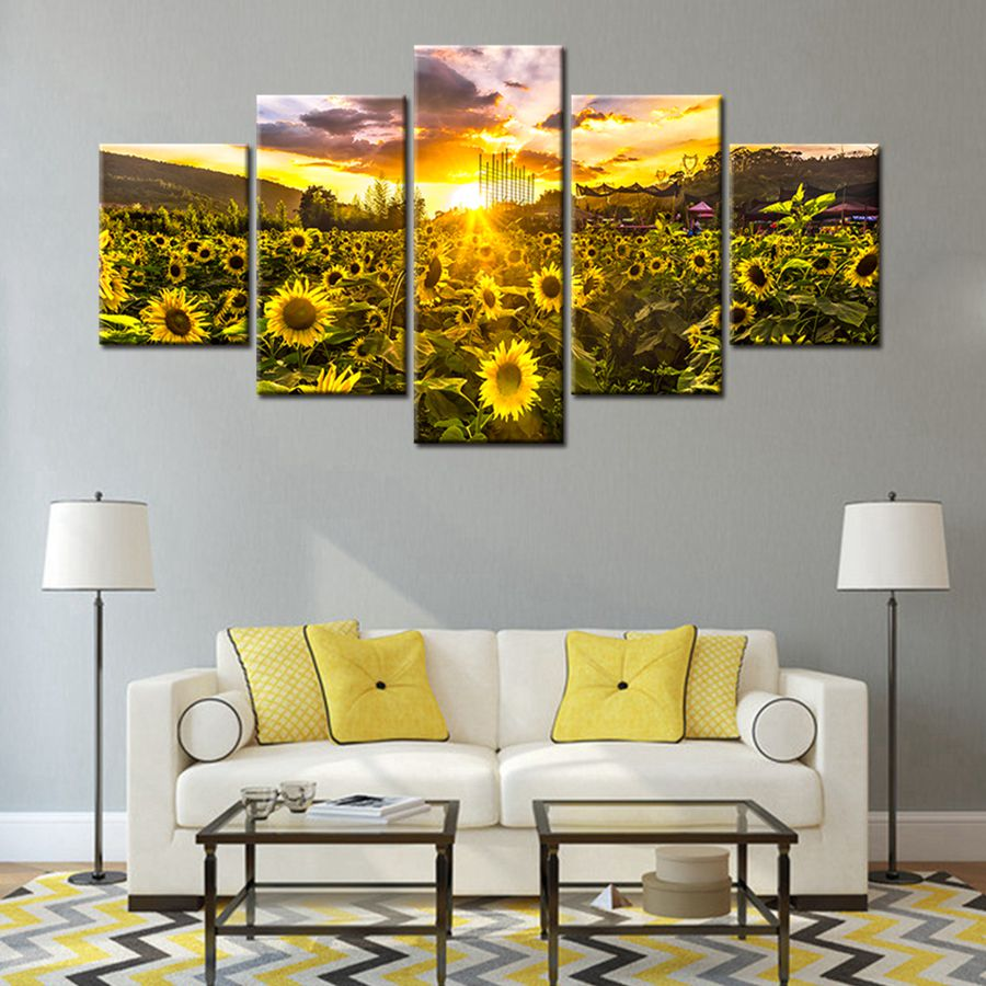 Golden Sunshine Sunset Sunflower Poster Pastoral Landscape Wall Art ...