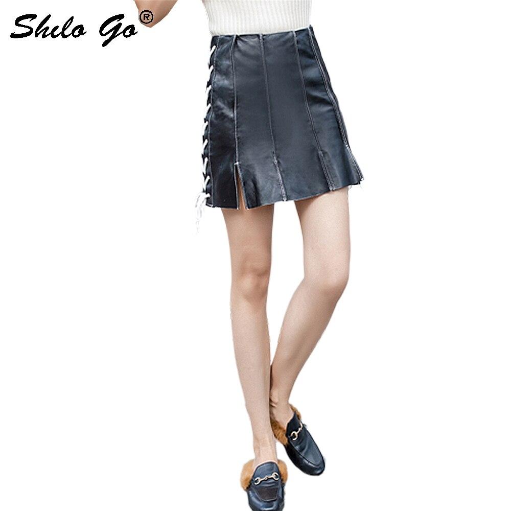 Streetwear Leather Skirts Womens Side Lace Up High Waist Sheepskin Genuine Leather A Line Skirts Casual Female Hot Split Skirts