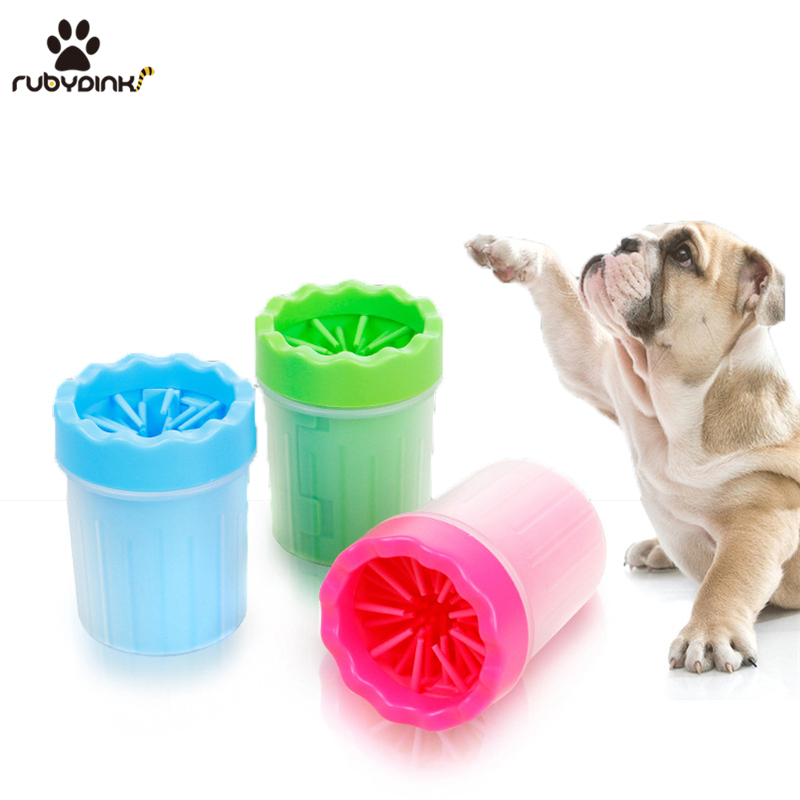 Rubydink Pet Cats Dogs Foot Clean Cup For Dogs Cats Cleaning Tool Soft Plastic Washing Brush