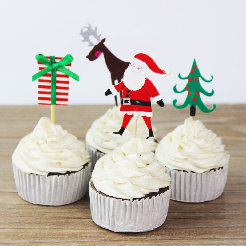 24pcs Christmas Santa Claus Trees Elk Cupcake Topper Picks
