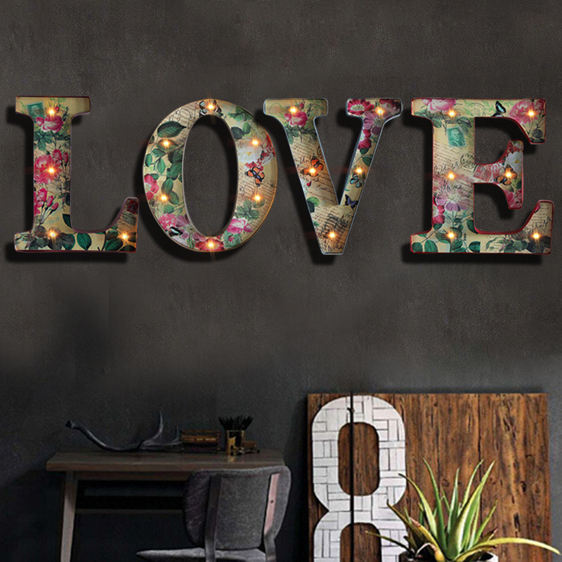 Love Led Wall Decor : Retro led letter love shaped wall lamp wrought iron craft