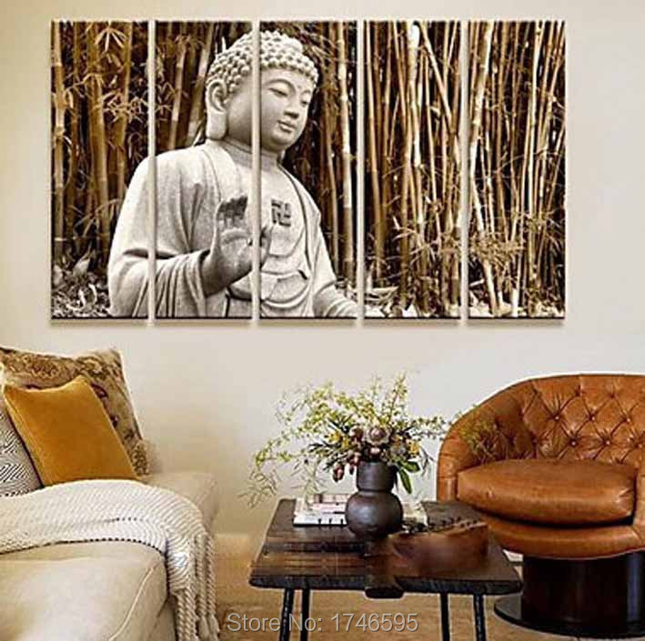 modern wall art picture printed buddha brown bamboo forest oil painting on canvas art prints for. Black Bedroom Furniture Sets. Home Design Ideas