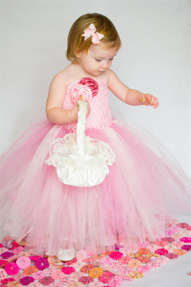 New 2017 Birthday Evening Party Wedding Tutu Dress Girl Kids Pink Flower Girl Tulle Gowns for Girls Party Dresses Children girls party wear tulle tutu dress kids elegant ceremonies wedding birthday dresses teenagers prom gowns flower girl dress