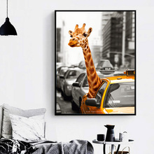 New York Giraffe Taxi London Vintage Wall Art Canvas Painting Landscape Nordic Posters And Prints Pictures For Living Room