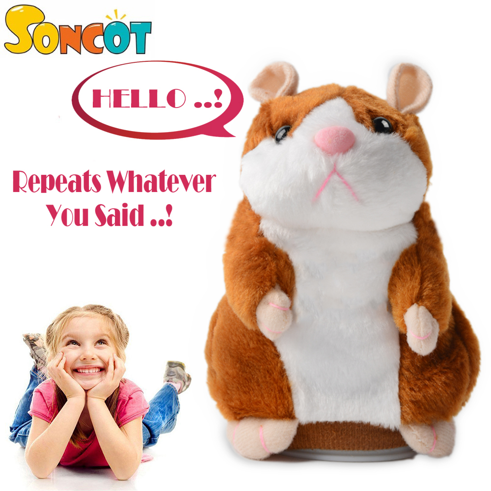 Talking Pet Hamster Electronic Animal Plush Toy - Mimics and Repeats After Words & Sounds - Special Birthdays Gift for Kids