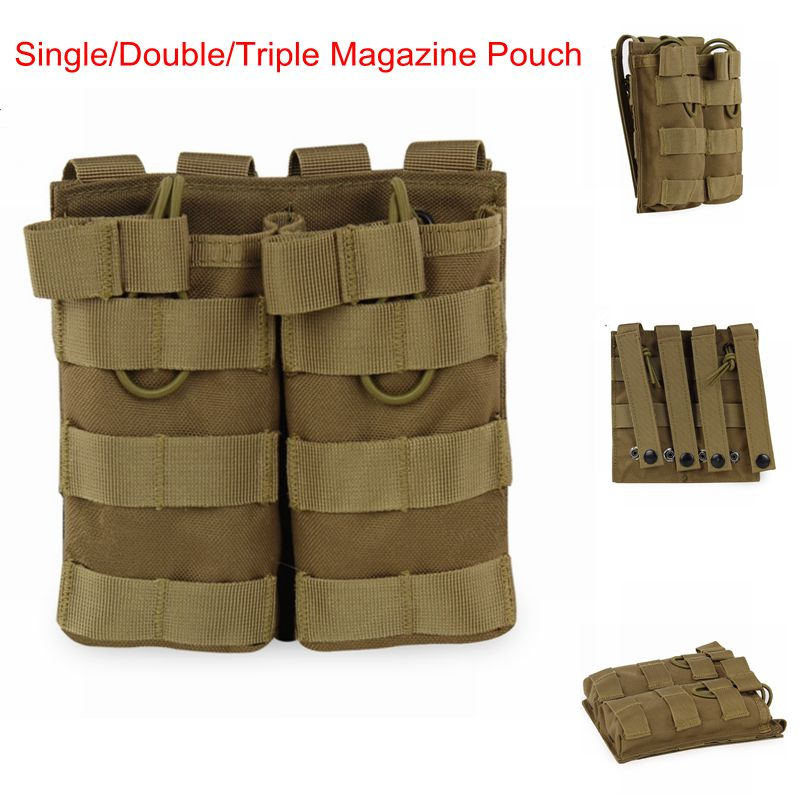 M4 AK Tactical Three Type Nylon Tactical Molle Vest Army Military Airsoft Single/Double/Triple Magazine Pouch Hunting Accessorie