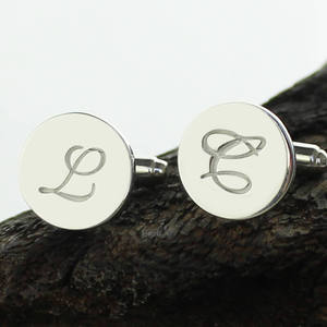 Image 4 - AILIN Personalized Sterling Silver Initial Letter Cufflinks Wedding Groomsmen Cufflinks Gift for Man