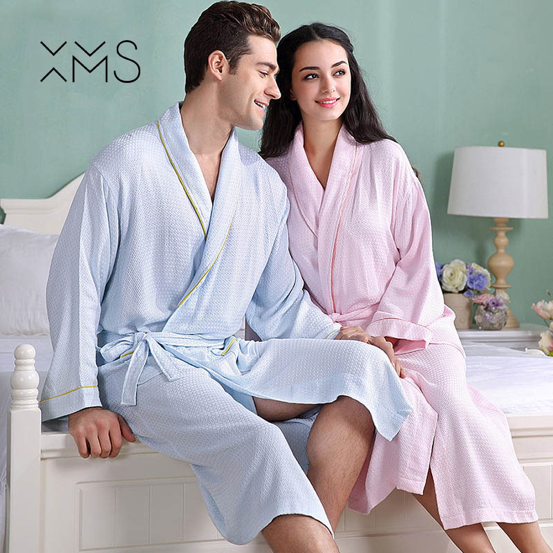 XMS Brand Waffle Bamboo Bathrobes Soft waffle Womens bath robes Solid full sleeve lady/girl sleepwear quick dry spa robe
