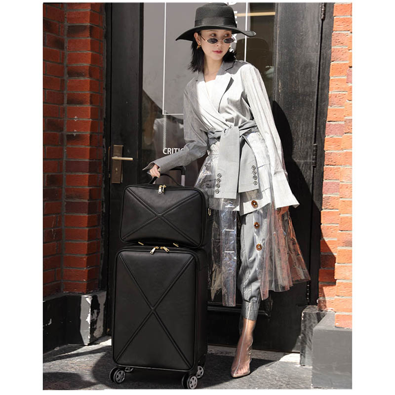 LeTrend Retro PU Leather Rolling Luggage Set Spinner High capacity Trolley High grade luxury Suitcase Wheels