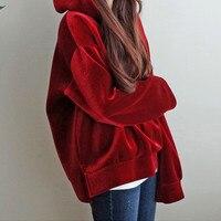 Harajuku Fashion Autumn/Winter Thick Loose Hoodie Sweatshirt Large Size Casual Sweatshirt Wine Red Hoodies Pullover Women TT3178