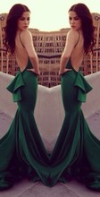 Emerald green evening dress 2014 Michael Costello sexy mermaid real made celebrity dresses s001