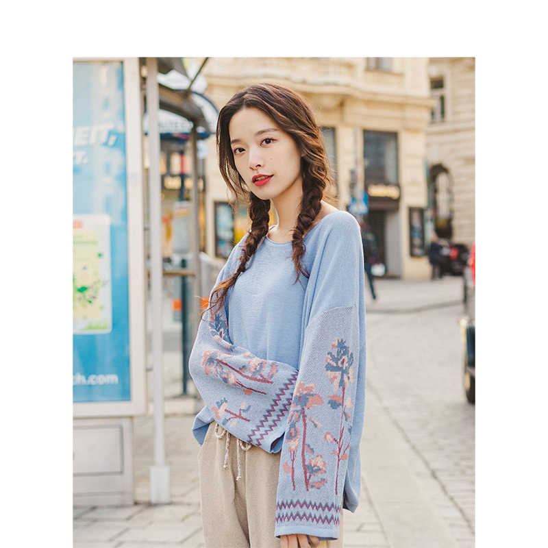 INMAN Spring Autumn O-neck Drpo-shoulder Sleeve Jacquard Literary Fashion Loose Women Pullover