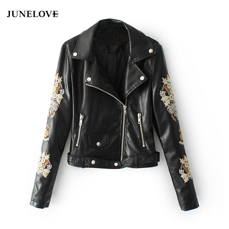 JuneLove 2018 Autumn Jacket Coat Women Embroidery PU Leather Basic Jacket Ladies Zipper Long Sleeve Sashes Outwear