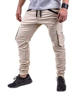 Men's new multi pocket corded cargo pants slim fashion casual pants