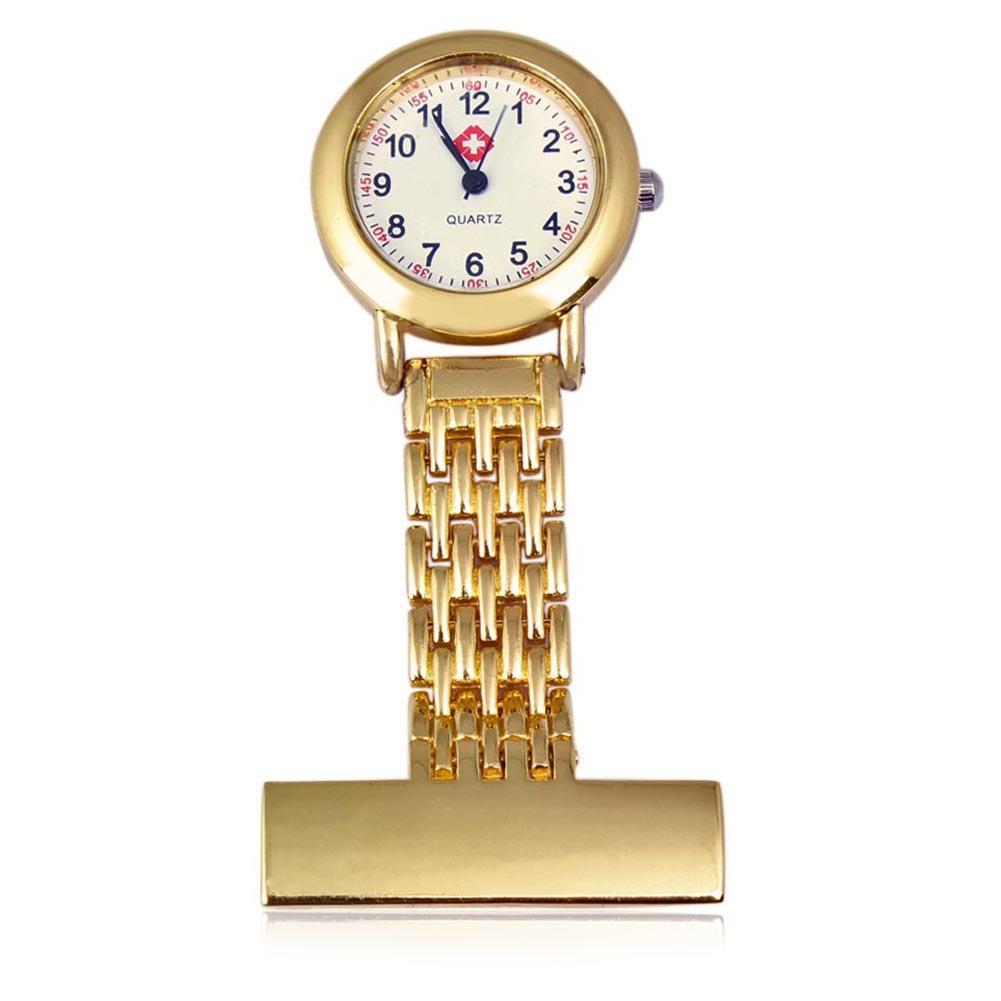 2018 Nurse Pocket Watch Stainless Steel Arabic Numerals Gold Cross Quartz Brooch Doctor Nurse Pocket Fob Watch