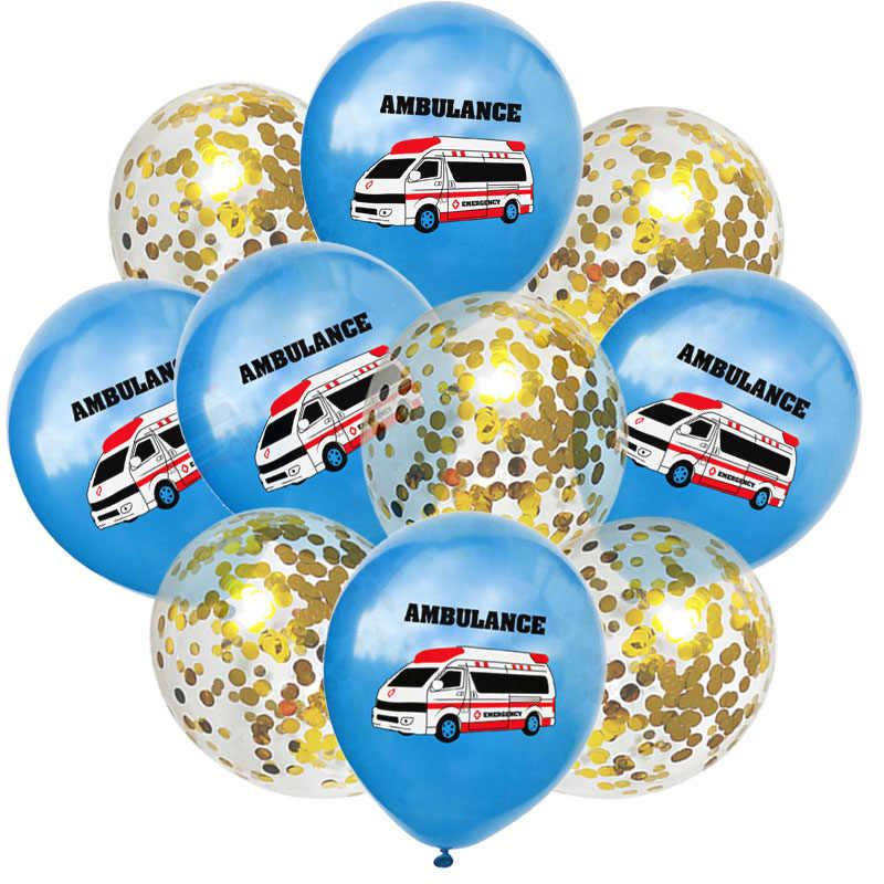 10 pcs Della Polizia di Scuola Bus Auto Palloncini Aria Palloncini Festa di Compleanno Per Bambini di Decorazione Confetti Palloncino Baby Shower Ragazzo Della Ragazza di Sfera giocattolo