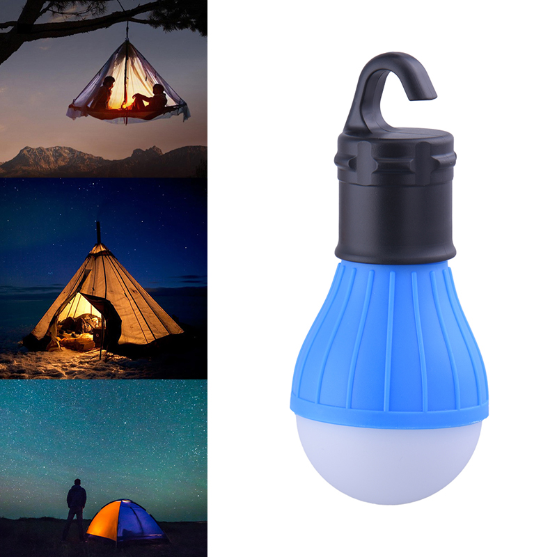 Portable Outdoor Hanging 3-LED Camping Lantern,Soft Light LED Camp Night Lights Bulb Lamp For Room Camping Tent Fishing 4 Colors