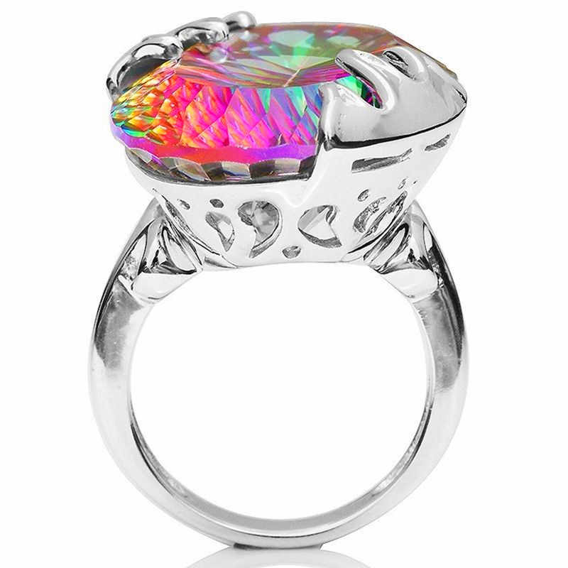 Mystery หญิง Big RainBow แหวนหิน Retro Gorgeous 925 แหวนเงินผู้หญิง Boho งานแต่งงานแหวนเครื่องประดับ