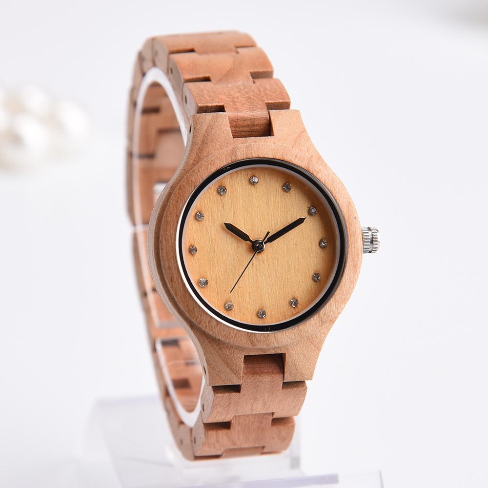 DWG Brand New Wooden Watch Japan Quartz Movement Rhinestone Lady Fashion Wrist Watches for Women Natural Solid Wood Strap Clock dwg brand new wooden watch japan quartz movement rhinestone ladies fashion brown wrist watches women cherry wood clock with box