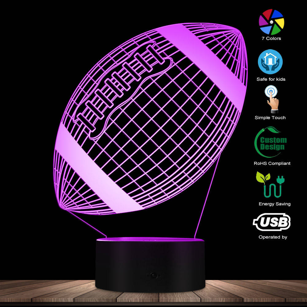 American Football 3D Render Wireframe Hologram Night Table Lamp Rugby Optical Illusion LED Lights Sports Fans Decorative Light