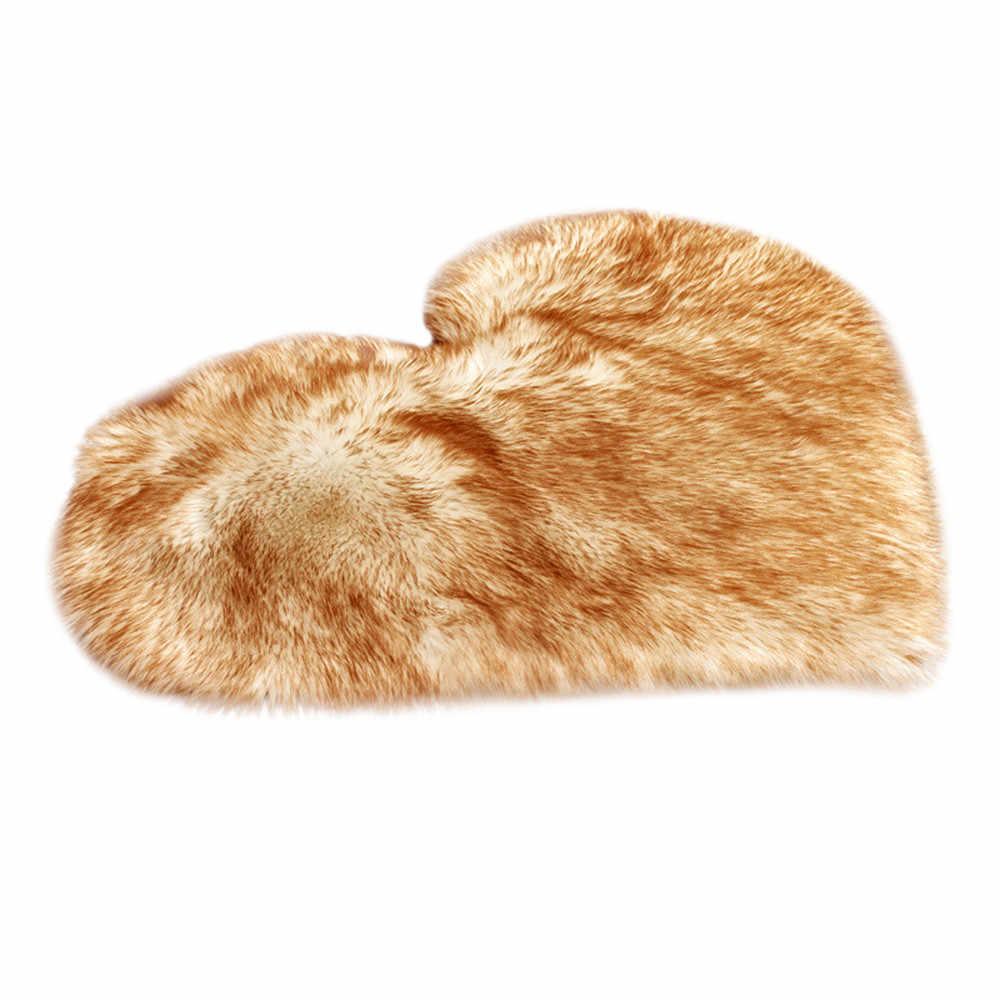 ארוך שעיר שטיח כחול לבן ורוד שאגי שטיח אהבת לב צורת שטיחים פרווה מלאכותי צמר כבש תינוק חדר שינה רך אזור מחצלת