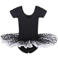 Baby Girls Black Pink Polkda Dots Pattern Ballet Dance Dress Short Sleeve Leotard Tutu Skate Fairy