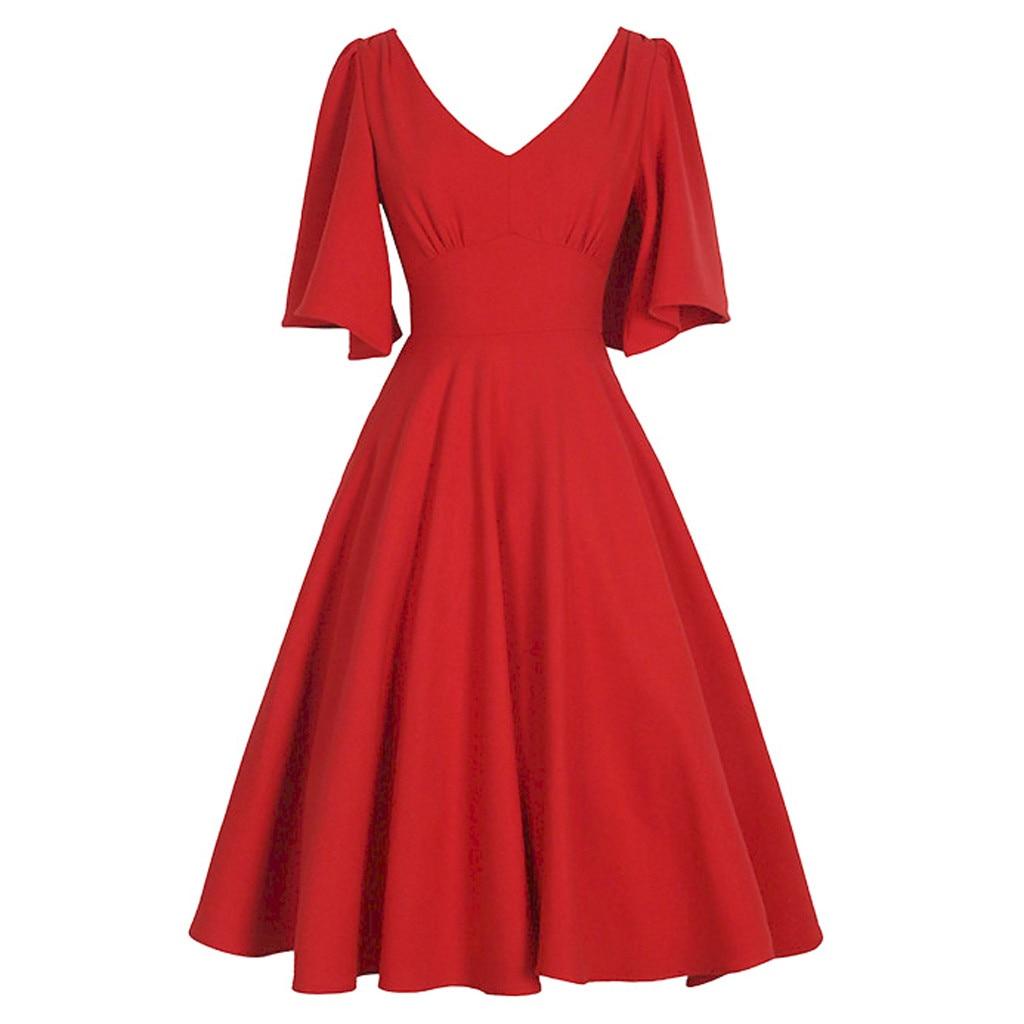 Fashion Womens Ruffles Sleeve Vintage Dress Solid V-Neck Retro Swing Dress Vestido De Festa Casual Women Dresses Dropshipping
