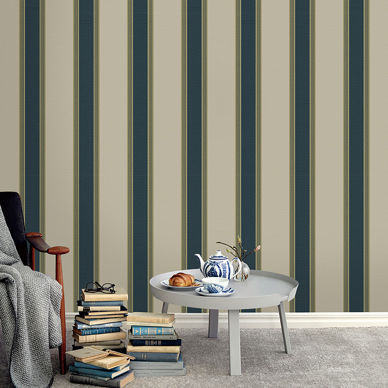 beibehang Modern minimalist bedroom living room TV background wall green wallpaper vertical stripes non-woven 3d wallpaper roll beibehang non woven wallpaper rolls pink love stripes printed wall paper design for little girls room minimalist home decoration