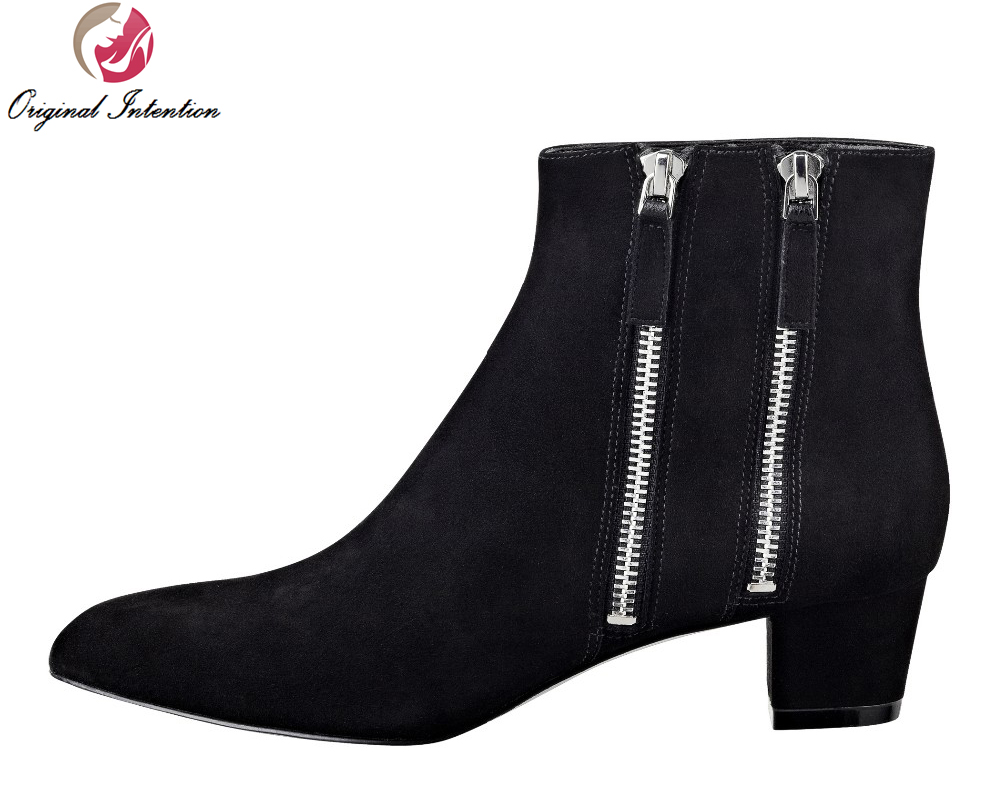 Original Intention New Elegant Women Ankle Boots Zip Pointed Toe Square Heels Boots High-quality Fashion Shoes Woman Plus Size new 2017 spring summer women shoes pointed toe high quality brand fashion womens flats ladies plus size 41 sweet flock t179